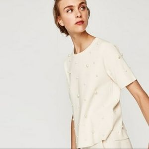 Zara White top with Pearls